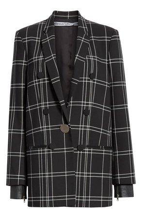 Alexander Wang Leather Cuff Oversized Plaid Blazer | Nordstrom