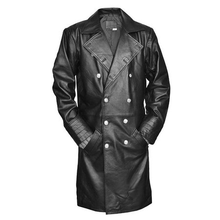 Military Style Leather Long Coat - Leather Jacket Direct In UK