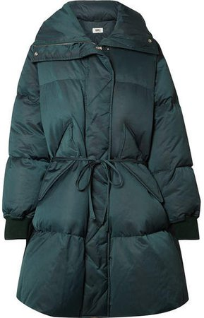 Oversized Belted Quilted Shell Down Coat - Dark green