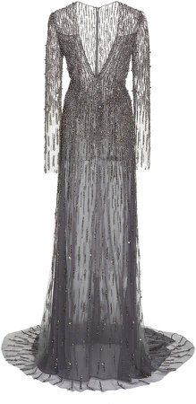 Pamella Roland Sequin And Pearl Embellished Tulle Gown