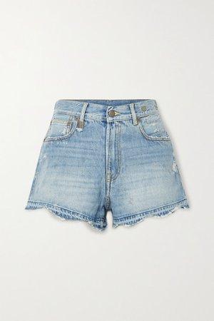 Boyfriend Distressed Denim Shorts - Light denim