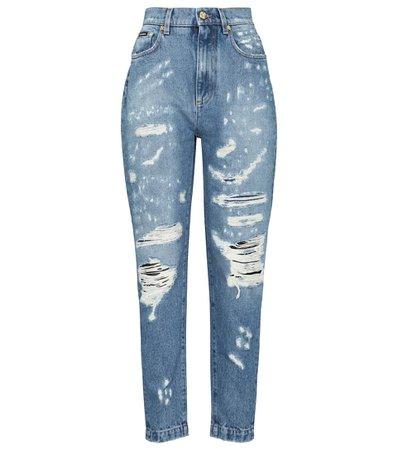 DOLCE & GABBANA High-rise distressed slim jeans
