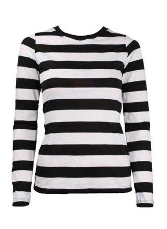 Long sleeve black white striped shirt
