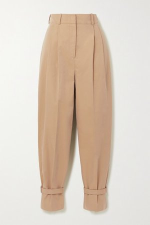Buckled Cotton-twill Tapered Pants - Camel