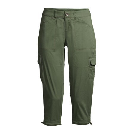 Time and Tru - Time and Tru Women's Cargo Capri Pants - Walmart.com green