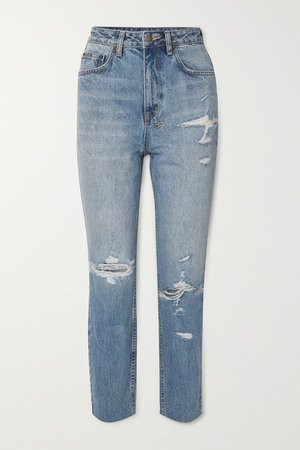 Chlo Wasted Distressed High-rise Straight-leg Jeans - Mid denim
