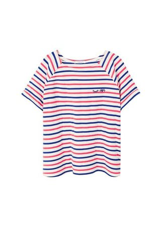 Violeta BY MANGO Embroidery striped t-shirt