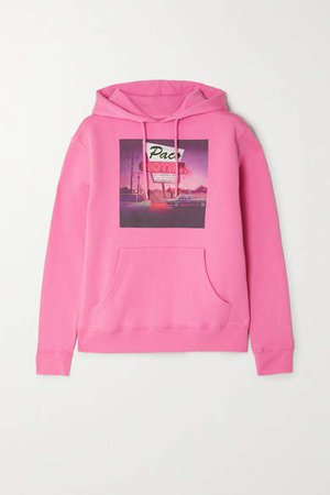 Printed Cotton-jersey Hoodie - Pink