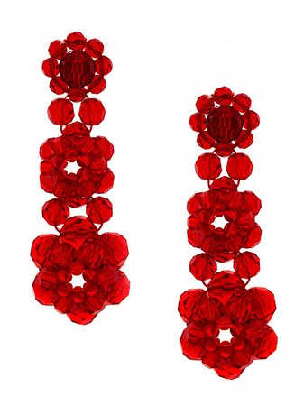 Red Simone Rocha Crystal Beaded Earrings | Farfetch.com