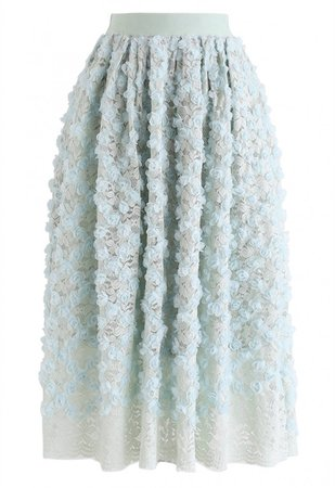 3D Roses Full Lace Midi Skirt in Mint - NEW ARRIVALS - Retro, Indie and Unique Fashion