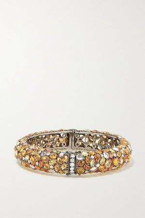 White gold 18-karat blackened white gold, sapphire and diamond bracelet | Lorraine Schwartz | NET-A-PORTER