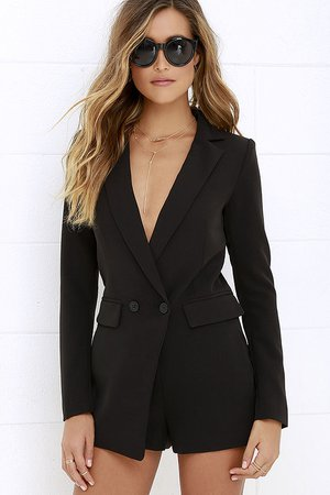 Stylish Black Romper - Long Sleeve Romper - Tuxedo Romper- $72.00