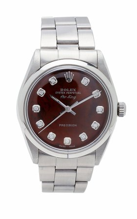Vintage Watches Rolex 34mm Airking Brown Pearlized Diamond Dial