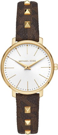 Michael Kors Women's Pyper Stainless Steel Quartz Watch with Plastic Strap, Brown, 14 (Model: MK2871): Watches