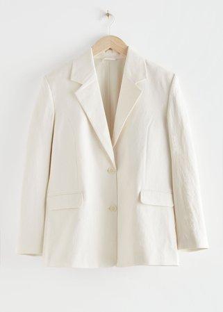 Linen-Blend Blazer - White - Blazers - & Other Stories