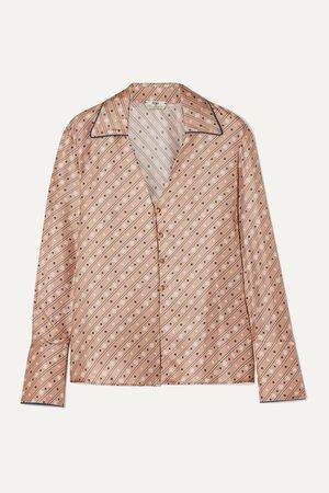 Beige Printed silk-satin blouse | Fendi | NET-A-PORTER