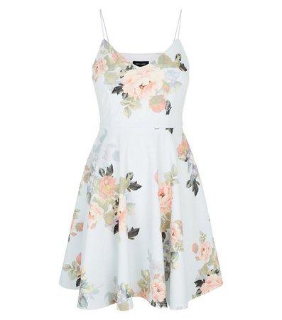 Pale Blue Floral Skater Dress | New Look