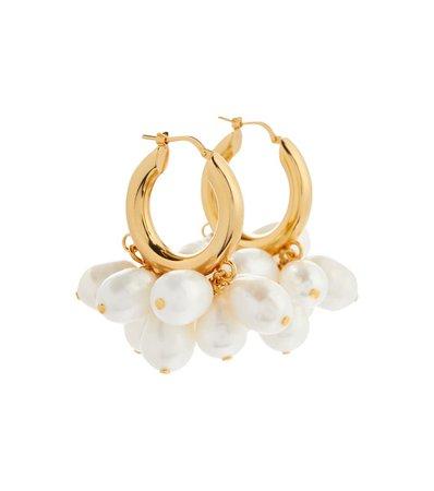 Jil Sander - Faux pearl hoop earrings | Mytheresa