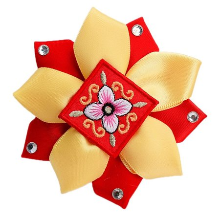 Red and Golden Yellow Korean hair clip 1