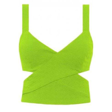 Texured Cut Out Neon Lime Green Crop Top
