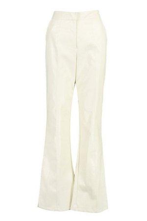 Faux Leather Wide Leg Pants   boohoo