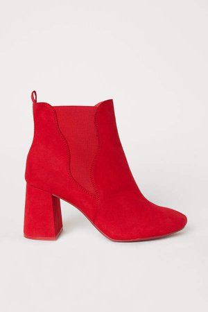 Ankle Boots with Side Panels - Red