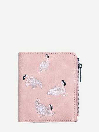 Flamingo Embroidery Purse