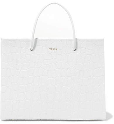 MEDEA - Prima Hanna Small Croc-effect Leather Tote - White