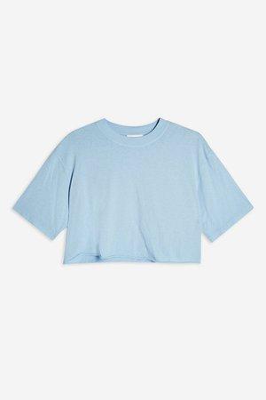 Blue Washed Crop T-Shirt   Topshop blue