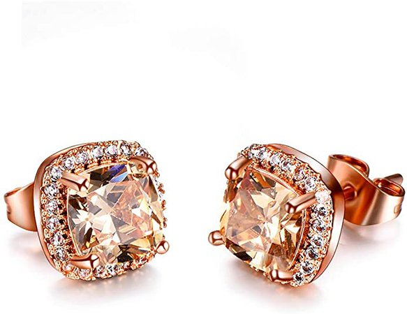 Amazon.com: Platinum Rose Gold Plated Cluster Style Simulated Cubic Zircon Fire Opal Stud Earrings (Rose Gold Champagne): Clothing