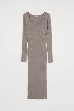 Rib-knit Dress - Brown
