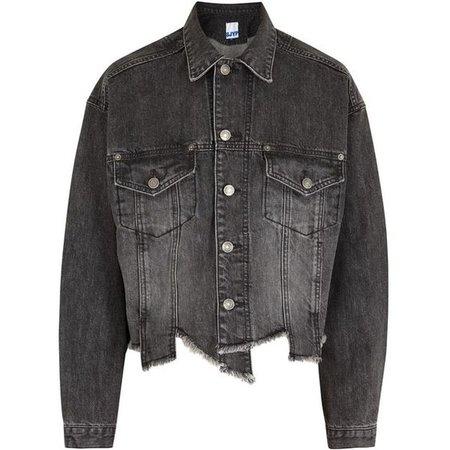SJYP Charcoal Distressed Denim Jacket