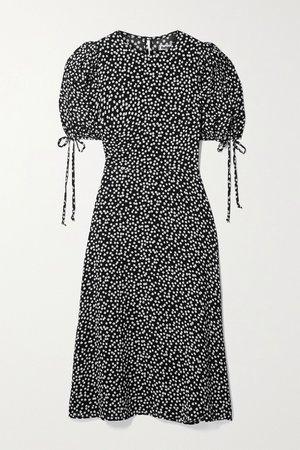 Black Oakley polka-dot crepe midi dress   Reformation   NET-A-PORTER
