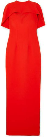 Safiyaa - Kalika Cape-effect Crepe Gown - Red