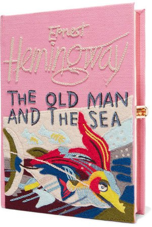 The Old Man And The Sea Appliquéd Embroidered Canvas Clutch - Pink