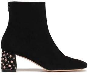 Crystal-embellished Suede Ankle Boots