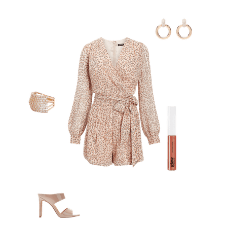 Leopard Puff Sleeve Wrap Front Romper | Express