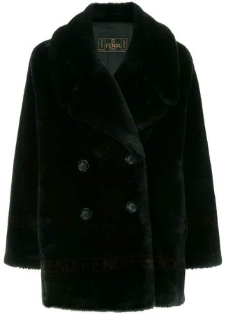 Pre-Owned logo fake fur coat