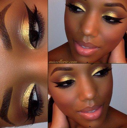 Gold Eyeshadow on Dark skin 1