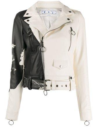 Off-White Painted Biker Jacket Ss20 | Farfetch.com