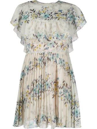 Redvalentino Floral Print Pleated Dress TR3VAN604RW Green | Farfetch