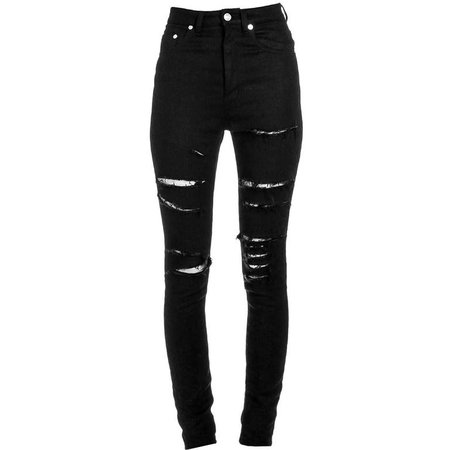 Saint Laurent Ripped Black Skinny Jeans