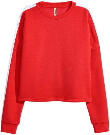 Sweatshirt with Snap Fasteners - Red