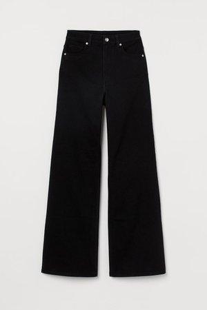 Wide-leg Twill Pants - Black - Ladies | H&M US