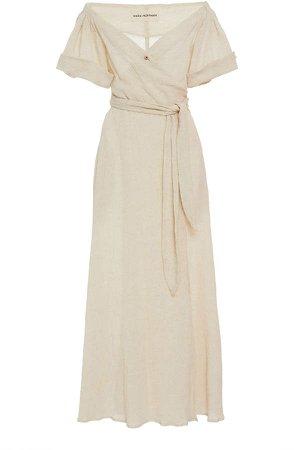 Adelina Off-The-Shoulder Cotton-Blend Midi Dress