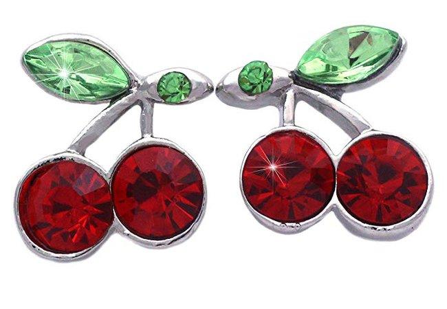 "Amazon.com: cocojewelry Cute Cherry Fruit Charm Earrings Women Fashion Jewelry (Red Stud 1/2""): Jewelry"