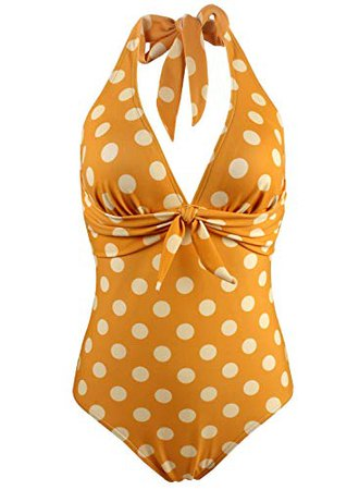 Amazon.com: Balasami Women's Retro 50s Polka Dots Print Vintage V Neck Halter One Piece Bow Tie Front Bikini Swimsuits Bathing Suits (X-Large(US14), Golden Yellow): Clothing