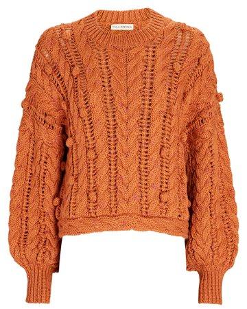 Ulla Johnson Caterina Cable Knit Crewneck Sweater   INTERMIX®