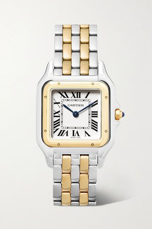 Gold Panthère de Cartier 27mm medium 18-karat gold and stainless steel watch | Cartier | NET-A-PORTER