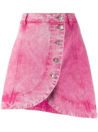 Pink Ganni Acid Wash Buttoned Denim Skirt | Farfetch.com